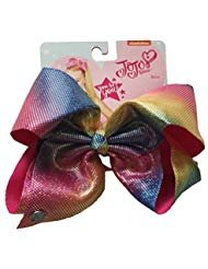 JoJo Siwa Signature Collection Hair Bow - Rainbow with Silver Iridescent Dots - Iridescent Bow
