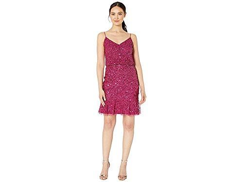 Adrianna Papell Women's Blouson Sequin Cocktail Dress with Flounce Hem Red Plum 6 (Cocktail Dress Adrianna Papell)