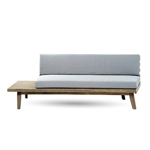 Great Deal Furniture 302613 Grace Indoor Minimalist Finished Acacia Wood Left Sided Sofa with Grey Cushions by Great Deal Furniture