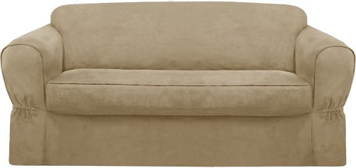 Great Amazon.com: Maytex Piped Suede 2 Piece Slipcover Sofa, Flax: Home U0026 Kitchen