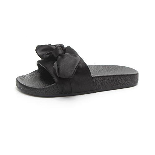 Moda alla Pantofole Donna Arco Fondo Abbigliamento Spesso Spiaggia Fondo Nero Vento Corte Piatto Estivo da wOqpZTB