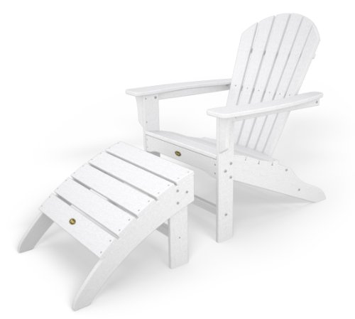 Trex Outdoor Furniture TXS117-1-CW Cape Cod 2-Piece Adirondack Seating Set, Classic White