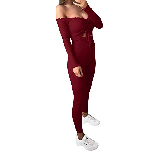 Fitfulvan Womens Sexy Slim Cold Shoulder Knit Long Sleeve Solid Two-Piece Suit Outfit Playsuit
