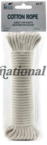 Natural White Braided Cotton Rope 50-ft x 7//32-in by Smart Value Home Smart Products 75 Clothes Line
