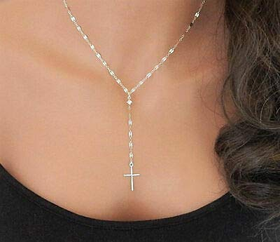 Chockdeemeechai Women Fashion Personality Pendant Simple Y Necklace with Cross Lariat Necklace