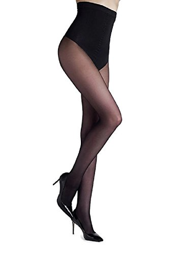 Marilyn Body Shaper Thong High Waist Control Top Pantyhose (Black, M) ()