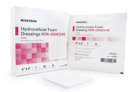 McKesson Foam Dressing 4 X 4 Inch Square Non-Adhesive Sterile (10 Per Box)