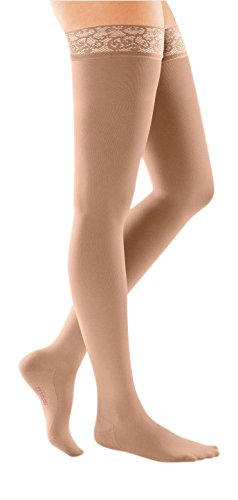mediven Comfort, 20-30 mmHg, Thigh High Compression Stockings w/Lace Top-Band, Closed Toe (Color: Natural, Tamaño: II - Petite)