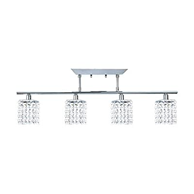 NOMA Fixed Track Lighting | Crystal Pendant Ceiling Track Light Fixture | Perfect for Kitchen, Hallway, Dining Room, Bedroom and Bathroom | Chrome, Crystal, 4-Light