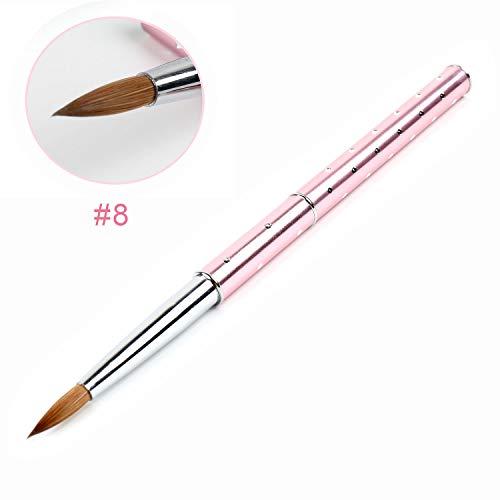 ANGNYA 1Pcs Acrylic Nail Art Brush Pink Metal Handle with Diamond Professional Konlinsky Sable Hair Nail Tool #8