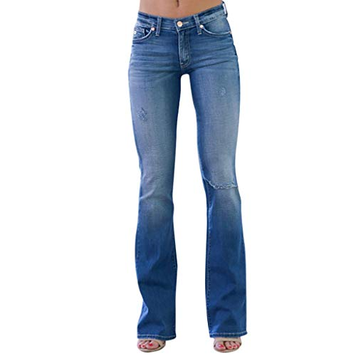 WDSTA Women Straight Leg Pant Mid Waisted Denim Jeans Pocket Stretch Button Bell-Bottom Pants Jeans (Blue,S)
