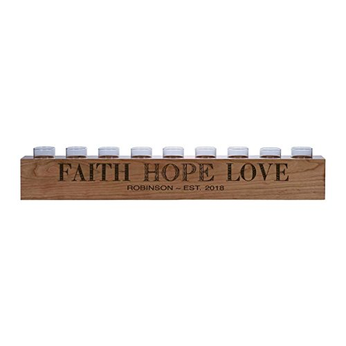 """LifeSong Milestones Personalized Home Cherry Candle Holder Faith Hope Love gift ideas for Bride and Groom Couples, Parents, Grandparents 28"""" L x 3.75"""" H (Faith Hope Love) by LifeSong Milestones"""