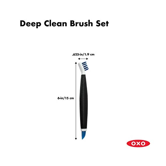 OXO Good Grips Deep Clean Brush Set 6 Set includes: Large Brush and Small Brush with Wiper Blade Large Brush is great for grout, shower-door tracks, stove tops and more Small Brush is perfect for fixtures and other tight spaces