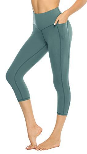 JOYSPELS Capri Running Leggings High Waist Tummy Control MMA Workout Leggings 4 Way Stretch for Yoga Biker Pockets Green S