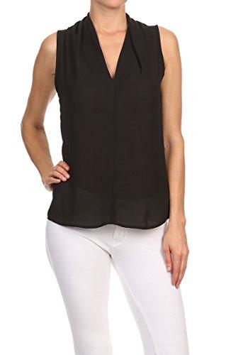 ReneeC. Women's Basic Solid V Neck Sleeveless Draped Chic Tank Blouse Top (Large, Black)