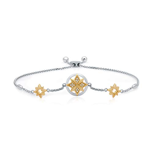 UNIVERSE FINE JEWELRY - Diamond-Accent Two-Tone Triple Star Airgap Adjustable Bolo Bracelet Inspired by Marvel's Captain ()