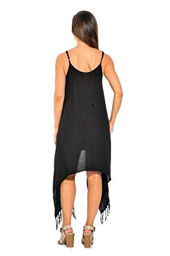 for Sundresses Dress Black Riviera Fringe Sun Women qf60wTIw