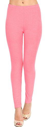 Women's Solid Brushed Leggings (Rose, 12 (L) - 24 (Solid Pink Leggings)
