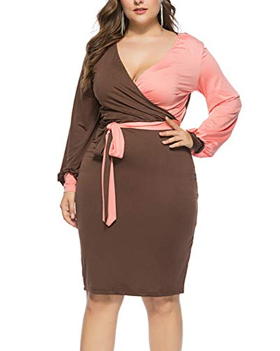Acelyn Women's Sexy V Neck Dress Color Block Long Sleeve Tie Knot Front Wrap Bodycon Midi Bandage Pencil Dresses with Belt (L, Brown&Orange)