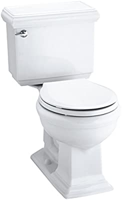Kohler K-3986-0 Memoirs Comfort Height Two-Piece Round Front Toilet with Classic Design, White