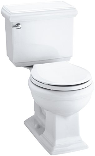 KOHLER 3986-U-0 Memoirs Classic Comfort Height Two-Piece Round-Front 1.28 Gpf Toilet with Aquapiston Flush Technology, Insuliner Tank Liner and Left-Hand Trip Lever, White - Kohler Round Front Toilet