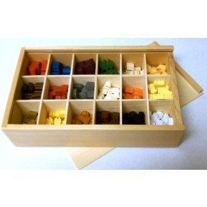 Premium Wooden Token Storage Box Filled with 279 Tokens! (25 Farmers, 60 Animeeples and 194 Resources in the Deluxe Euro Token Set)