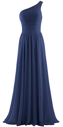 - ANTS Women's Pleat Chiffon One Shoulder Bridesmaid Dresses Long Evening Gown Size 16 US Navy
