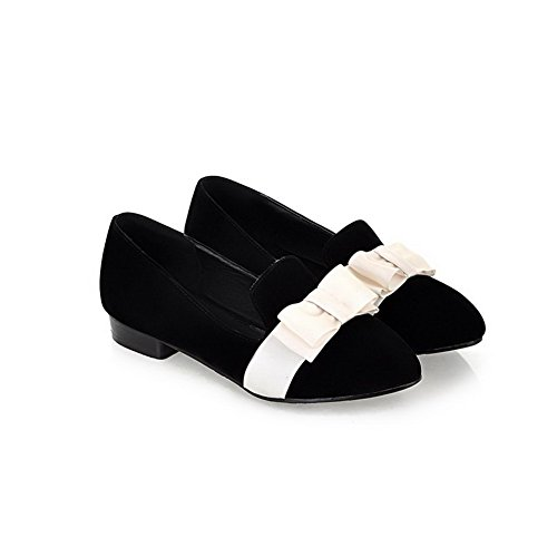 AmoonyFashion Womens Closed Round Toe PU Frosted Solid Flats with Bowknot Black Te1poXhKSs