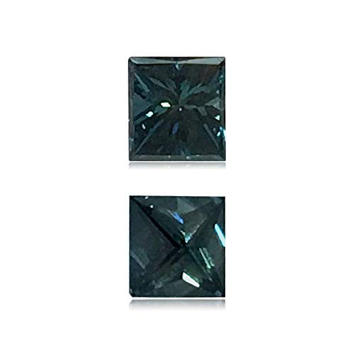 (Mysticdrop 0.19 Cts of 3.1x3.4x2.5 mm SI2 Princess Cut Teal Blue Diamond (1 pc) Loose Color Diamond)