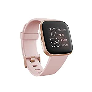 Fitbit Versa 2 (NFC), Health & Fitness Smartwatch with Heart Rate, Music, Sleep & Swim Tracking, One Size (S & L Bands Included), Petal/Copper Rose