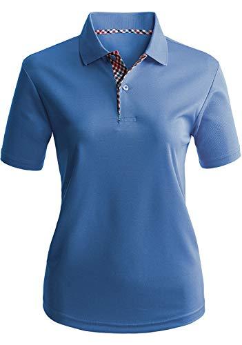CLOVERY Women's Sport Wear 2-Button Polo Short Sleeve Shirt Cobalt 2XL Plus ()