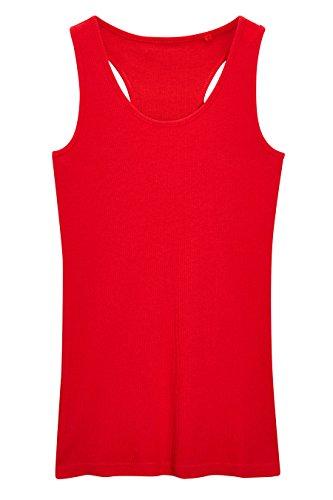 next Mujer Camiseta De Canalé Sin Mangas Corte Regular Rojo