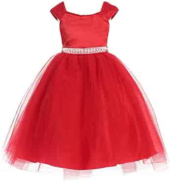 b70e648accec Little Girls Red Dull Satin Double Layer Tulle Pearl Belt Christmas Dress  2-6