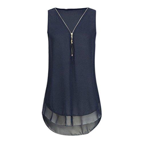 CUCUHAM Women Loose Sleeveless Tank Top Cross Back Hem Layed Zipper V-Neck T Shirts Tops(AA-Dark Blue, XXXXXL)