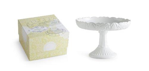 Rosanna Les Desserts Milk Glass, Round Rimmed Cake Pedestal Milk Glass Dessert