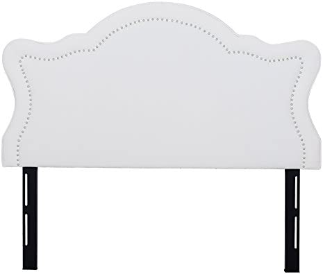 Jennifer Taylor Home Catherine Collection Antique White Upholstered Nailhead Trim Camel Back Luxury Queen Size Size Headboard