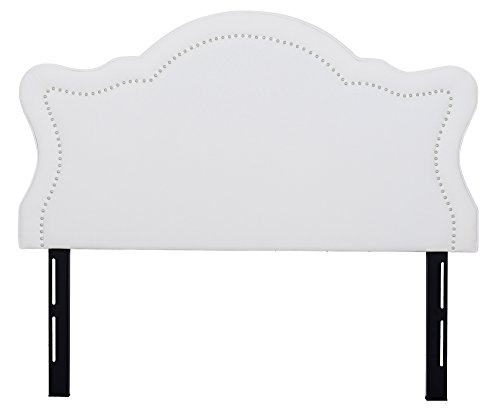 Jennifer Taylor Home Catherine Collection Antique White Upholstered Nailhead Trim Camel Back Luxury Queen Size Size Headboard With Trim, Queen Size, Antique White - Taylor Metal Bed