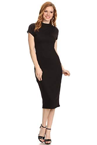 Vibe Sportswear Cap Sleeve Mock Neck Lined Bodycon Midi Dress (Medium, Black) -