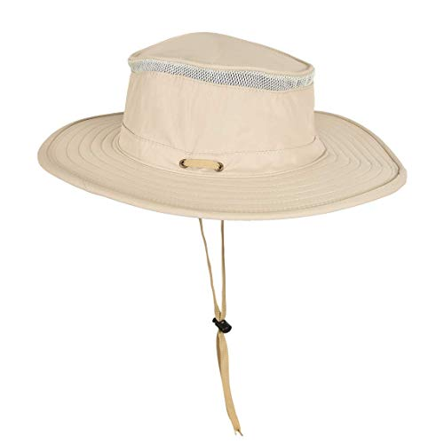 Unisex Wide Brim Boonie Bucket Sun Hat Outdoor Fishing Boating Safari Hat with Adjustable Drawstring for Small Head ()