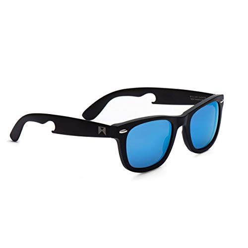 William Painter Hook Titanium Polarized 'Classic' Sunglasses, Classic Wayfarer Style for Both Men and Women, Tinted Lens with Bottle Opener, Scratch Resistant, Protective Case and ()