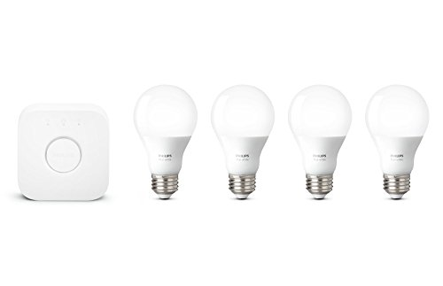 Philips Hue White Smart Bulb Starter Kit (4 A19 Bulbs and 1 Bridge, Compatible with Amazon Alexa, Apple HomeKit and Google Assistant)