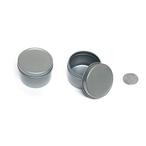 (Mimi Pack 2 oz Round Tin Cans Deep Solid Top Lid Cover Steel Containers For Favors, Spices, Balms, Gels, Candles, Gifts, Storage 24 Pack (Silver))