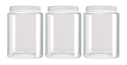 Silicook Clear Plastic Jar, Set of 3 - Square Shaped, Transparent, Food Storage Container, Kitchen & Household Organization for Dry goods, Spices, Vegetables, Ingredients and More (M)