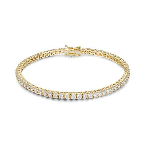(Divine Elegance Women's 3mm Round CZ Tennis Bracelet, Yellow )