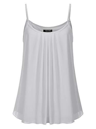 (SSOULM Women's Sleeveless Pleated Chiffon Layered Cami Tank Top Blouse Silver S)