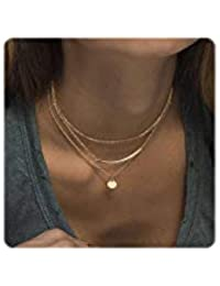 Dainty Layered Choker Necklaces Handmade Coin Tube Star Pearl Pendant Multilayer Adjustable Layering Chain Gold Necklaces Set for Women Girls