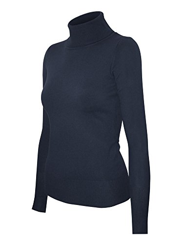 (Cielo Women's Solid Basic Stretch Turtleneck Pullover Knit Sweater Navy S)