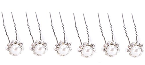 Shop Ginger Wedding Pack Of 6 White Pearls Flower Shape Hair Pins Wedding Bridal Veil Accessory