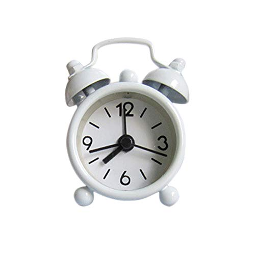 FIN86 Round Cute Mini Metal Small Alarm Clock Simple Cute Travel Portable Button Electronics Operated Snooze Functions Clock, Easy Set (White) by FIN86--Alarm clock (Image #1)