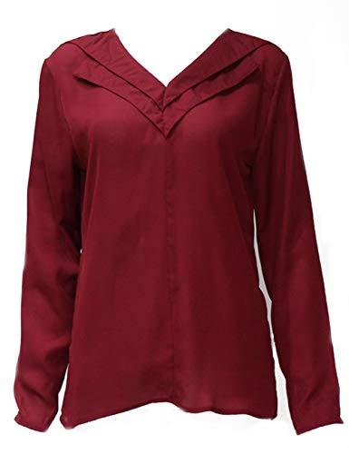 Chic Blouse de Grande Tops Tunique Taille T Manche Tee V Casual Soie Chemisier Shirts Hauts Mousseline Femme Chemise lgant Longue Rouge Col 0q77wF